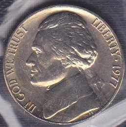 1977 P Jefferson Nickel / From mint set