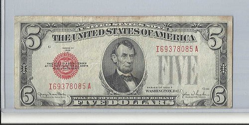 1928 F  FIVE DOLLAR  UNITED STATES NOTE