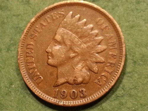 1903 P Indian Head Cent, Fine + Condition.