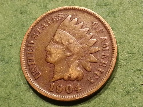 1904 P Indian Head Cent, Very Good Condition.