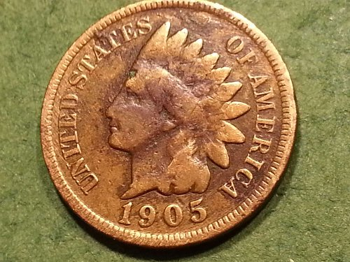 1905 P Indian Head Cent, Very Good Condition.