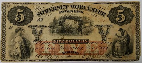 Obsolete - $5 - Somerset and Worcester Savings Bank ~ Salisbury, MD ~ 116.5.18
