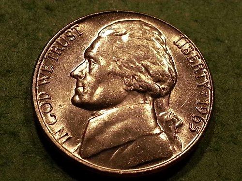 1965 P Jefferson Nickel - BU condition, bright mirror surface