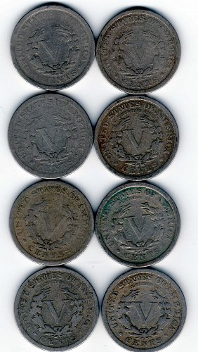 LIBERTY HEAD NICKELS SET OF 8 VARIETY 2