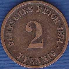 Germany 2 Pfennig 1874A