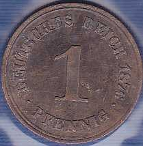 Germany 1 Pfennig 1876