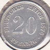 Germany 20 Pfennig 1876J