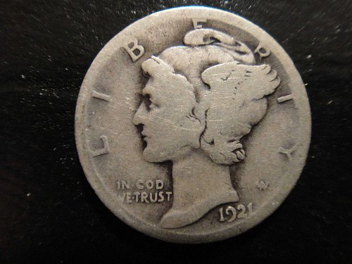 1921 (KEY DATE) Mercury Dime Good-4 with Strongly Struck Date