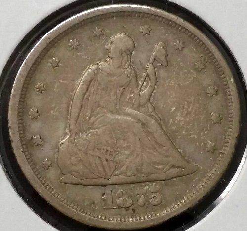1875 S Twenty Cent Piece ~ XF