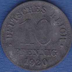 Germany 10 Pfennig 1920, Zinc