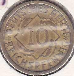 Germany 10 Reichspfennig 1925A