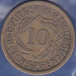 Germany 10 Reichspfennig 1929F