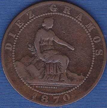 Spain 10 Centimos 1870