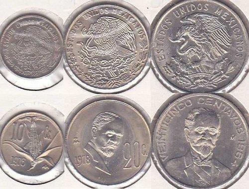 Mexico 10 Centavos 1976, 20 Centavos 1978, 25 Centavos 1964