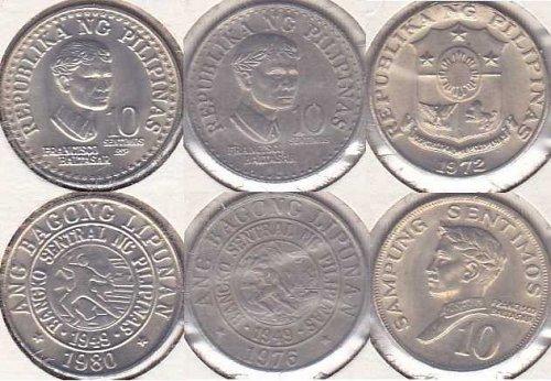 Philippines 10 Sentimos 1972, 1976, 1980