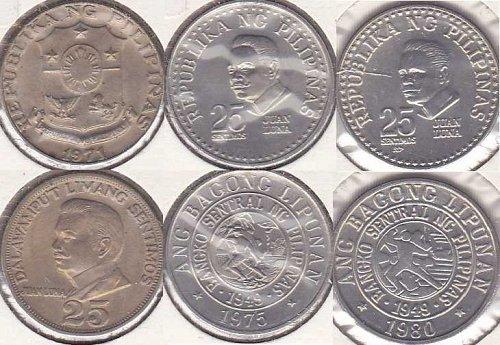 Philippines 25 Sentimos 1971, 1975, 1980