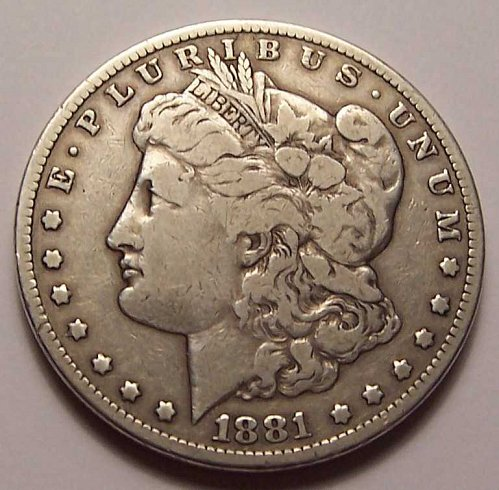 1881-CC  MORGAN  SILVER  DOLLAR  >> F12 <<