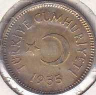 Turkey 5 Kurus 1955