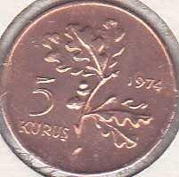 Turkey 5 Kurus 1974