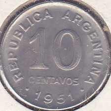 Argentina 10 Centavos 1951