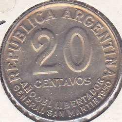 Argentina 20 Centavos 1950
