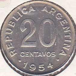Argentina 20 Centavos 1954