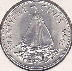 Bahamas 25 Cents 1966