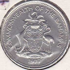Bahamas 25 Cents 1977