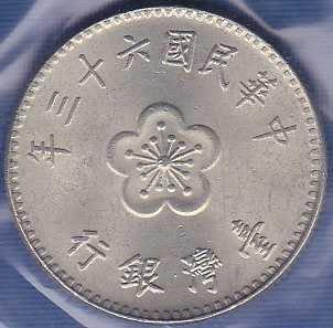 China / Tawian 1 Yuan (Yr 63) 1974