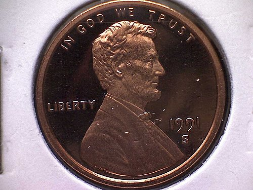 1991-S LINCOLN MEMORIAL PENNY