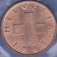 Switzerland 1 Rappen 1968B