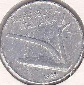 Italy 10 lira 1955