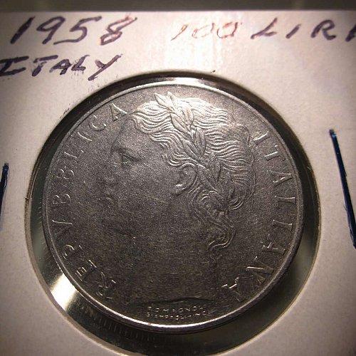 1958 Italy 100 Lira Large Type         WM-0151