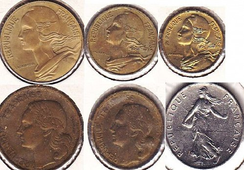 France 5,10,20 Centimes, 1/2, 10, 20 Francs Mixed Dates