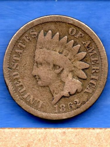 1862 CN Indian Head Penny Genuine Natural US Coin Money