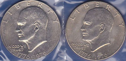 Eisenhower Dollars 1976 P Type 1 & Type 2