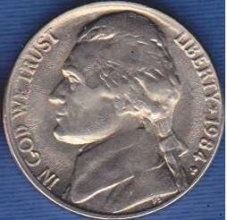 1984 P Jefferson Nickel
