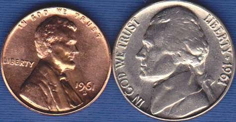 1961 D Jefferson Nickel & 1961 D Lincoln Cent