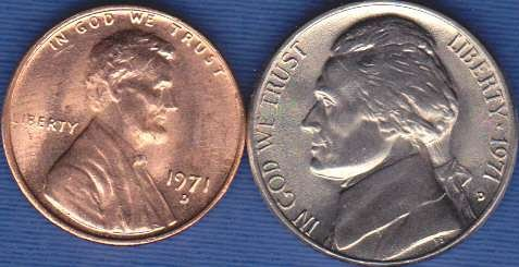 1971 D Jefferson Nickel & 1971 D Lincoln Cent