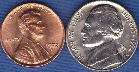 1972 D Jefferson Nickel & 1972 D Lincoln Cent