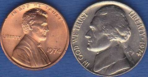 1974 P Jefferson Nickel & 1974 P Lincoln Cent