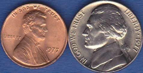 1977 P Jefferson Nickel & 1977 P Lincoln Cent