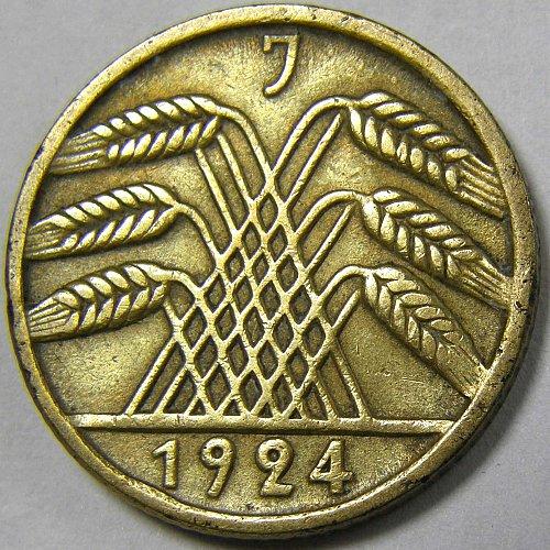 1924J GERMANY 5 RECIHSPFENNIG KM #39