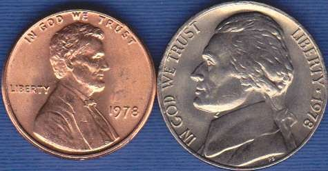 1978 P Jefferson Nickel & 1978 P Lincoln Cent