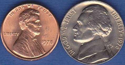 1978 P Jefferson Nickel & 1978 P Lincoln Cent