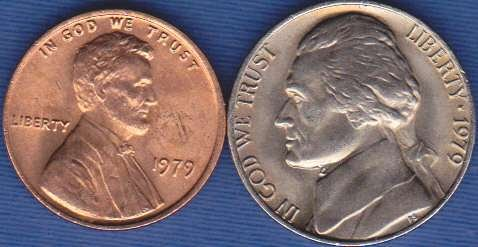 1979 P Jefferson Nickel & 1979 P Lincoln Cent