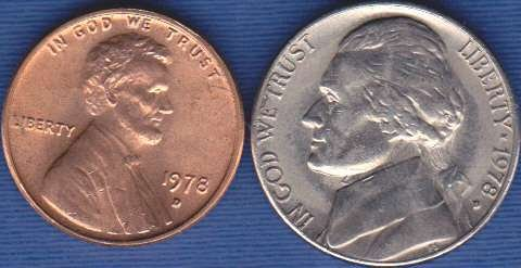 1978 D Jefferson Nickel & 1978 D Lincoln Cent