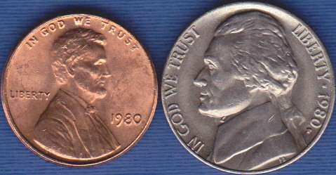 1980 P Jefferson Nickel & 1980 P Lincoln Cent