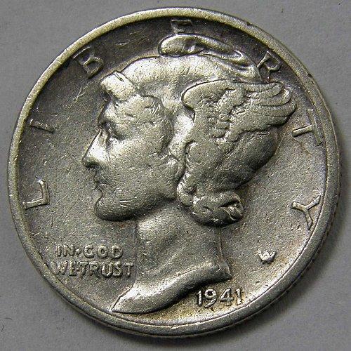 1941 S MERCURY DIME #2