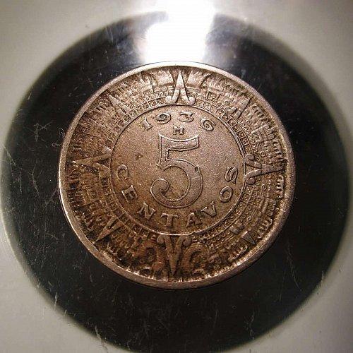 1936 M 5 Centavos Mexico    WM-0018
